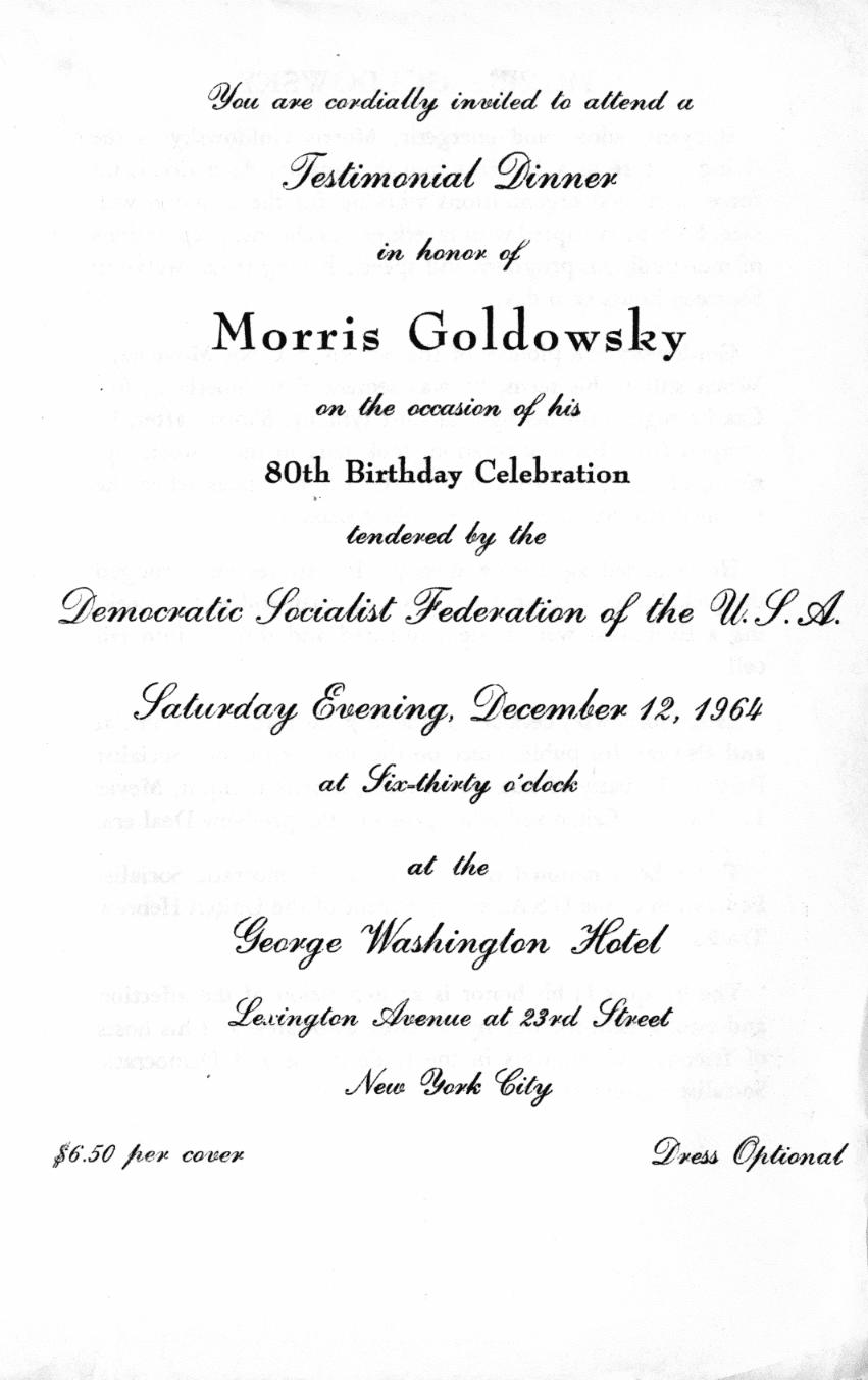 Morris Goldowsky: Dinner Invitation